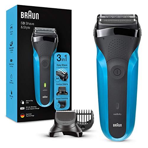 Braun Series3 Shave&Style 310BT Rasoir Électrique Barbe Homme, Technologie Wet&Dry, Noir/Bleu