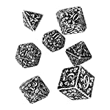 Q Workshop Forest Engraved White & Black RPG Ornamented Dice Set 7 polyhedral Pieces
