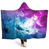 Space Wolf (2) Micro Fleece Decke Throw Twin Travel Größe Extra Soft Cozy Hoodie Mantel für Herren Damen Indoor Outdoor 50x40 Zoll