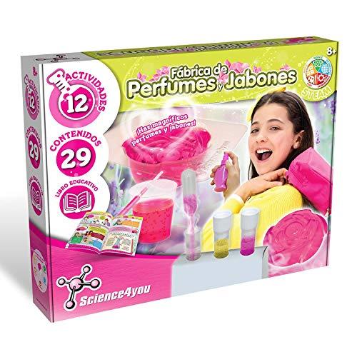 Science4you-Fábrica Haz magníficos Juguete Incluye Experimentos y un Libro Educativo Regalo Ideal para Niñas 8 9 10 11 12 Años, Color fábrica de perfumes y jabones (80002641)