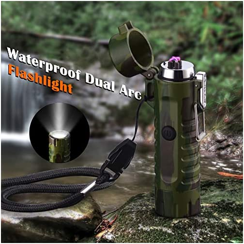 Waterproof Lighter USB Plasma Lighter Rechargeable Electric Lighter Waterproof with Flashlight Flameless Lighter… 5