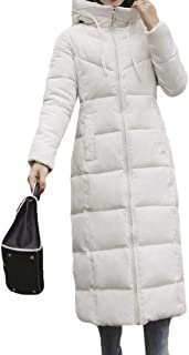 Women's Long Sleeve Thickened Fur Hood Drawstring Long Down Jacket Outwear Overcoats Tops