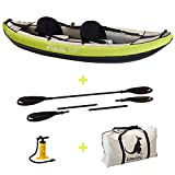 Kangui Canoë Kayak Gonflable Maui 1 à 2 Places + pagaie + Sac Transport + Pompe Double Action+ kit de réparation