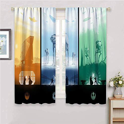 DILITECK Cortinas de cocina Star Wars collage ciencia ficción cortina cortinas de ventana para dormitorio de 137 x 96 cm, collage de Star Wars ciencia ficción