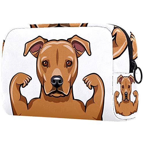 Kosmetiktasche Womens Waterproof Makeup Bag Für Reisen zum Tragen von Kosmetika Wechselschlüssel usw. Strong Staffordshire Terrier Hund Muskeln Bodybuilder Porträt