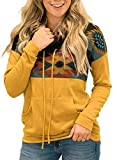 Aleumdr Women Autumn Winter Cowl Neck Color Block Pullover Sweatshirts Tops Casual Aztec Printed Patchwork Blouses with Pockets Yellow XX-Large 18 20
