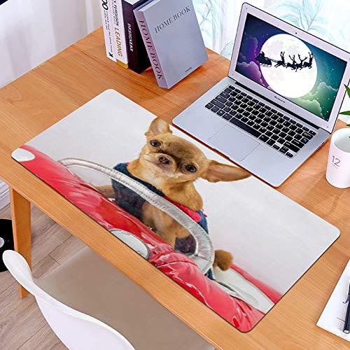 Alfombrilla Ratón Grande Gaming Mouse Disfraz Chihuahua Perro Rojo Divertido Coche Closeup Animales Fauna Silvestre,Base de Goma, Portátil, Ordenador
