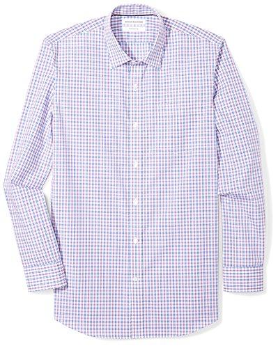 Amazon Essentials Men's Slim-Fit Wrinkle-Resistant Long-Sleeve Dress Shirt, Blue/Purple Plaid, 16' Neck 34'-35' Sleeve
