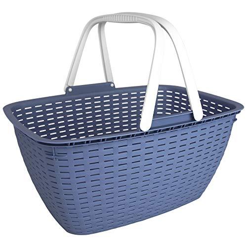 TW24 Einkaufskorb Rattan-Optik 17L mit Farbwahl Tragekorb Picknickkorb Camping Shopping Korb Kunststoffkorb (Pastell Blau)