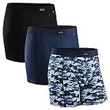 DANISH ENDURANCE(ダニッシュ・エンデュランス) メンズ 下着 ボクサー トランクス (Multicolor (Black, Navy Blue, Camouflage Blue) - 3 Pack, Large)