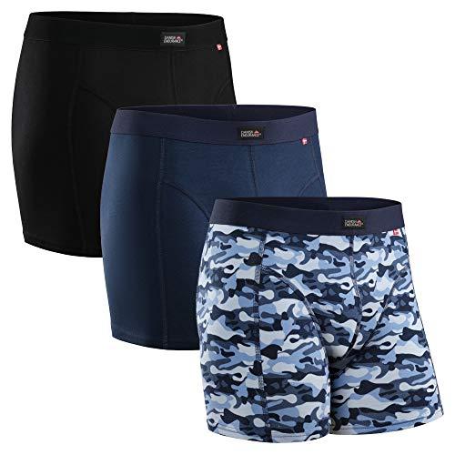 DANISH ENDURANCE Herren Boxershorts, Mehrfarbig (Schwarz, Marineblau, Camouflage Blau) - 3 Pack, Gr.- L