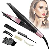 Ökostein Hair Straightener & Curling Iron 2-in-1 Curl & Straight - Straightening Iron with Curved Styling Plates u. LCD Display 5 Levels Temperature Settings 150-230 ° for Smoothing, Curling & Waves