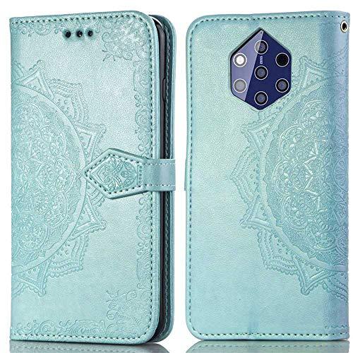 Bear Village Hülle für Nokia 9, PU Lederhülle Handyhülle für Nokia 9, Brieftasche Kratzfestes Magnet Handytasche mit Kartenfach, Grün