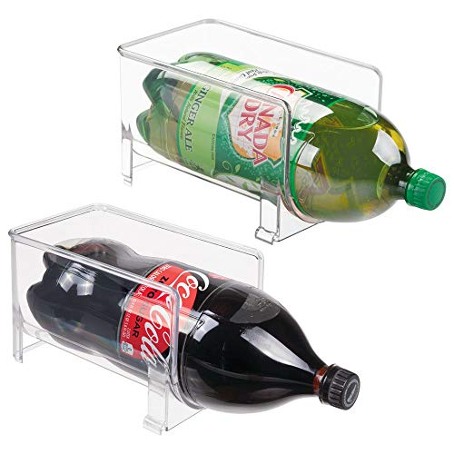 mDesign Large Stackable Kitchen Bin Storage Organizer Rack for Pop/Soda Bottles for Refrigerator, Pantry, Countertops and Cabinets - Holds 2-Liter...