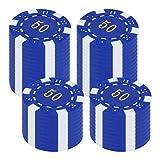 Kisangel Fiches da Poker da 50 Pezzi Fiches da Bingo in Plastica Fiches Conteggio Fiches i...