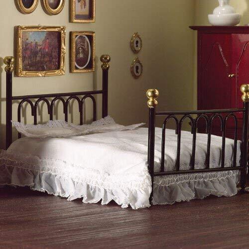 The Dolls House Emporium Schwarzes 'Gußeisen' Doppelbett & Decke