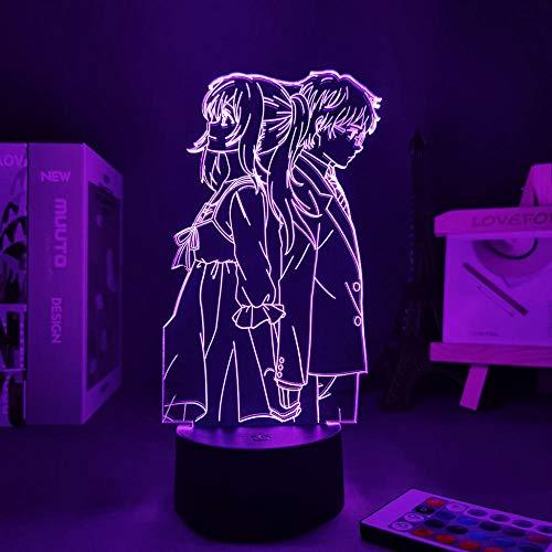 Figura de Anime Luz de noche Your Lie In April Manga Lie In April Linda decoración de la habitación Decoración del hogar para la novia Panel de luces LED con control remoto