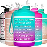 HydroMATE Half Gallon Water Bottle with Time Markers Large Reusable BPA Free 64 oz Motivational Water Jug with Straw and Handle Hourly Time Measurements to Track Daily Water Intake All Day Hydration 64oz Ombre Purple Turquoise