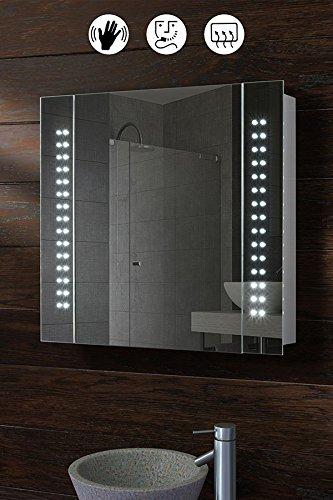My-Furniture - Armoire de toilette miroir avec éclairage 60 LEDs, capteur de mouvement, sytème de désembuage et prise rasoir - L/650 x H:600 mm - GALACTIC