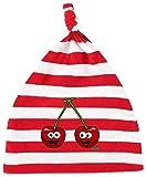 Hariz - Gorro para bebé, diseño de rayas, cerezas, fruta, dulce, tarjetas de regalo, color rojo y blanco lavado