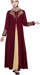 Womens Muslim Trumpet Sleeve Maxi Dress Long Robe Gowns