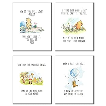 Winnie The Pooh Classic Art Prints - Set of 4  8 inches x 10 inches  Wall Art Decor Photos Bedroom Playroom