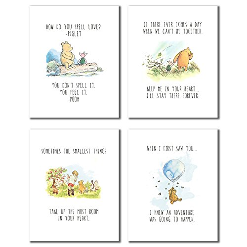 Winnie the Pooh Classic Art Prints - Set of Four (8x10 - Set of Four Prints)