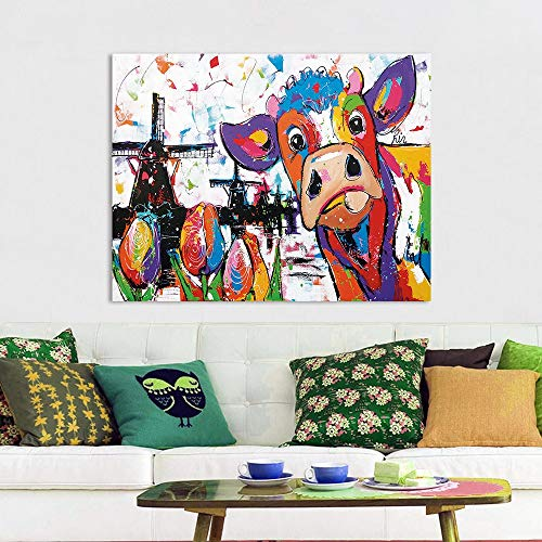 ZJMI Decoratieve Schilderijen Vrolijk Schilderij Muur Kunst Holland Koe Doek Schilderen Dierlijke Afbeeldingen Huisdecoratie Geen Frame -40×60Cm