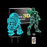 Luz nocturna 3D de superhéroe, luz nocturna LED 3D de Star Wars, lámpara de decoración de 16 cambios de color,Navidad y cumpleaños para niños