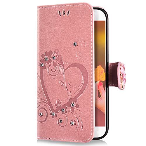 Uposao Compatibile con Samsung Galaxy S7 Custodia,Brillantini Portafoglio - Bling Glitter Strass Cover in Pelle Colorata Cuore Farfalla 3D Disegno Libro Antiurto Supporto Copertura Case,Oro Rosa