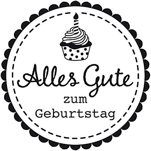 RICO DESIGN GmbH & Co. KG Holz Stempel Cupcake Alles Gute zum Geburtstag 35 x 35 mm