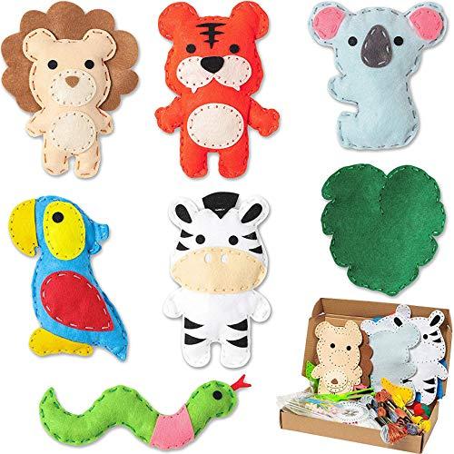 WATINC 7 Animal de la Selva Kit de Costura de Fieltro para Niños Lindo Paquete de Costura Relleno para Niñas Principiantes, Divertido Arte de Bricolaje Regalo con Múltiples Herramientas de Costura