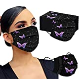fiedFikte Neu Erwachsene Einweg 3-lagig Mundschutz Masken, Mode schwarz leuchtender Schmetterling Mund und Nasenschutz, Atmungsaktive Bandana Bunt Modegeschmack Halstuch für Männer Frauen