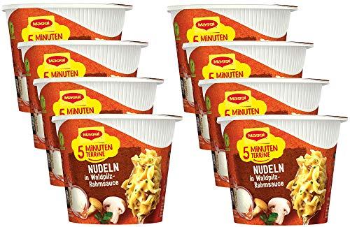 Maggi 5 Minuten Terrine Nudeln in Waldpilzrahmsauce, leckeres Fertiggericht, Instant-Nudeln, mit Pilzen, 8er Pack (8 x 56g)