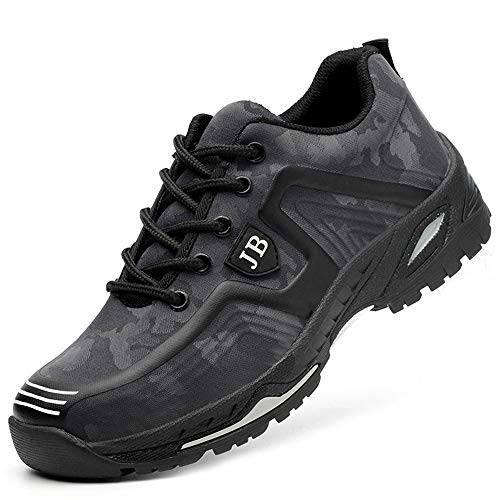 GUFANSI Arbeitsschuhe Stahlkappe Grau 40 Sicherheitsschuhe S3 Herren Sommer Arbeit Schuhe Männer Sicherheit Sneaker Turnschuhe Sportlich Schutzschuhe Atmungsaktiv Trekkingschuhe für Kinder Jungen