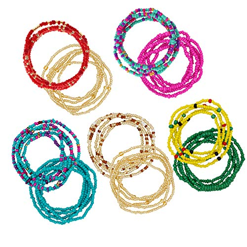 YarBar 10 Stück Taillenperlen Set, Bunte Waist Beads, Afrikanische Taillenperlen, Körperkette, Perlen-Bauchkette, Bikini-Schmuck für Frauen und Mädchen