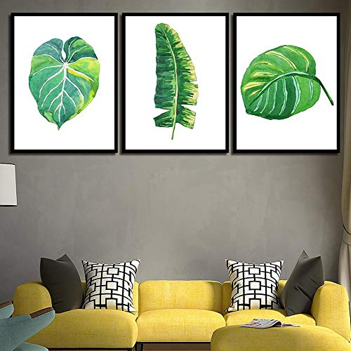 HD Nordic poster babykamer groene plant verlaat muur canvas slaapkamer decoratie schilderen 40x60cmx3 (frameloze)