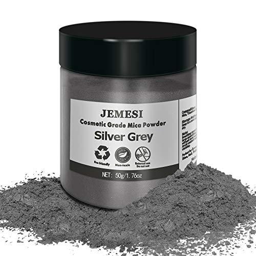 JEMESI 50g Epoxidharz Farbe, Metallic Farbe Resin Pulverfarbe Seifenfarbe Pigmentpulver Mica Pulver Powder zur Farbherstellung - Silber Grau