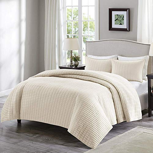 Comfort Spaces Kienna Quilt Coverlet Bedspread Ultra Soft Hypoallergenic All Season Lightweight Filling Stitched Bedding Set, Full/Queen 90'x90', Ivory