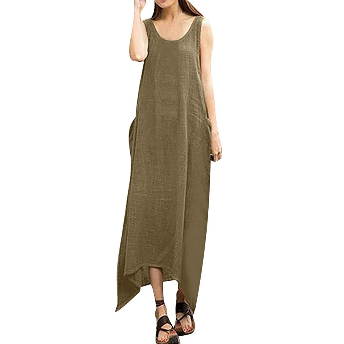 TOPBIGGER Women's Cotton Linen Sleeveless Maxi Dress Irregular Hem Casual Dress