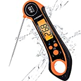 Qisebin Digital Meat Thermometers for Cooking Grilling - IPX7 Waterproof Instant Read Food Thermometer for Meat, Deep Frying, Baking, Outdoor & BBQ (Orange)