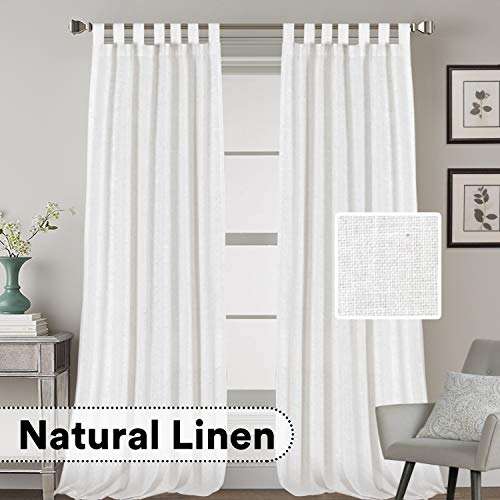 H.VERSAILTEX Natural Effect Extra Long Curtains Made of Linen Mixed Rich Material, Tab Top Curtains Pair Window Curtains/Drape/Panels for Bedroom (Set of 2, 52 by 108 Inch, Off White)