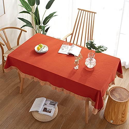 Mantel Rectangular de algodón Lavado con Volantes de Color Puro, Mantel de Cocina para Mesa de Comedor, Fiesta de Picnic y jardín, Rojo 100X140CM