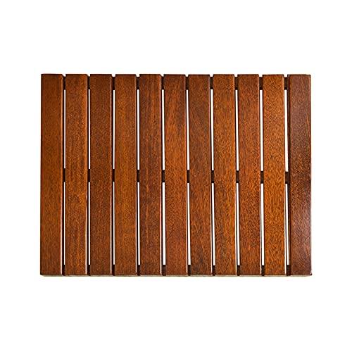 Lanrui Estera De Baño De Ducha De Madera Natural, Bañera De Baño Impermeable Rectangular Sauna Colchonetas De Piscina, Accesorios De Baño De Madera (Color : Brown, Size : 60x80cm)