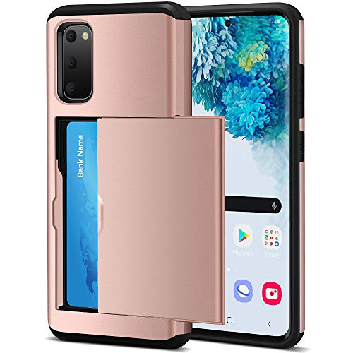 Jiunai Galaxy S20 Case, Credit Card IDs Holder Shell Wallet Case Sliding Cover Non Slip Dual Layer Shockproof Anti Scratch Hard PC Soft TPU Rubber Cover Case for Samsung Galaxy S20 5G 2020 Rose Gold