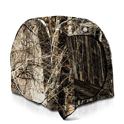 SereneLife One Person Hunting Blind - Durashell Plus Hunting Ground Blind Tent Pop Up Blinds for Hunting w/ Spring Steel Frame, Camo Polyester Fabric, Includes Carry Bag, Ropes, Stakes, Poles - SLHT39