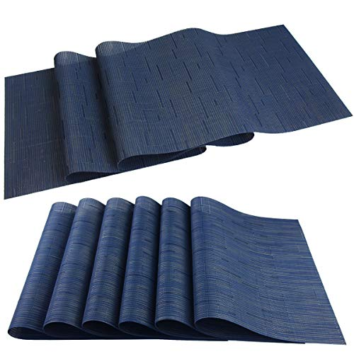 pigchcy Elegant Placemat Set of 6 and Table Runner,Washable Vinyl Woven Table Mats Sets(6pcs Placemats+1pcs Table Runner, Navy Blue)