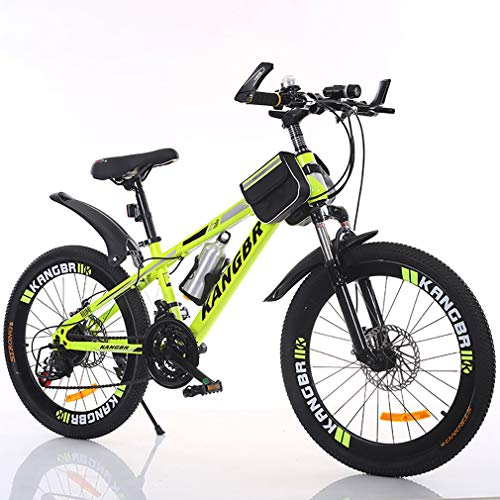 YAOXI Mountain Bike con Smorzamento Forcella Ammortizzata, Tasca A Telaio E Portabottiglie Bici per Bambini 21 Attrezzi Sistema di Freno A Doppio Disco Boy Girl Bicicletta,Giallo,24Inch