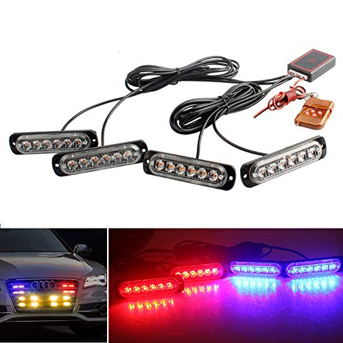 LED Emergency Strobe Lights DIBMS 4x Red White 6 LED 4 IN 1 Sync Surface Mount Warning Flashing Caution Construction Hazard Light Bar With Remote Control For Car Truck Van Off Road Vehicle ATV SUV