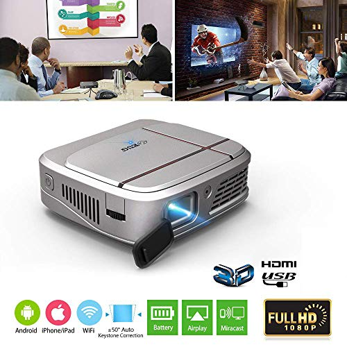 "Mini Portable DLP Projector Support 1080p/3D/WIFI/100"" Display/Auto Keystone Correction,Rechargeable LED Projector with HDMI USB 3.5mm Audio for iPhone iPad Laptop DVD Player PC Mac Game Console"